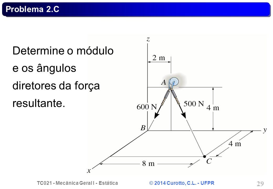 TC021 - Mecânica Geral I - Estática © 2014 Curotto, C.L. - UFPR 29 Problema 2.C Determine o módulo e os ângulos diretores da força resultante.