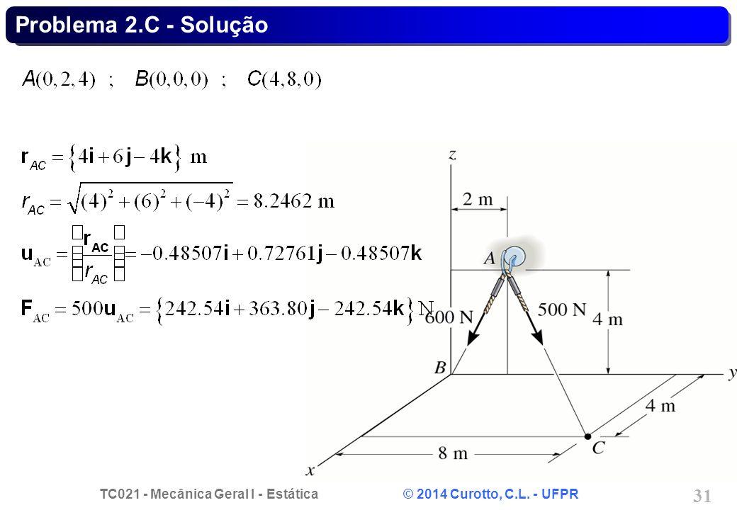 TC021 - Mecânica Geral I - Estática © 2014 Curotto, C.L. - UFPR 31 Problema 2.C - Solução