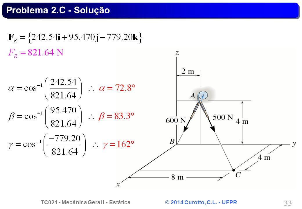 TC021 - Mecânica Geral I - Estática © 2014 Curotto, C.L. - UFPR 33 Problema 2.C - Solução