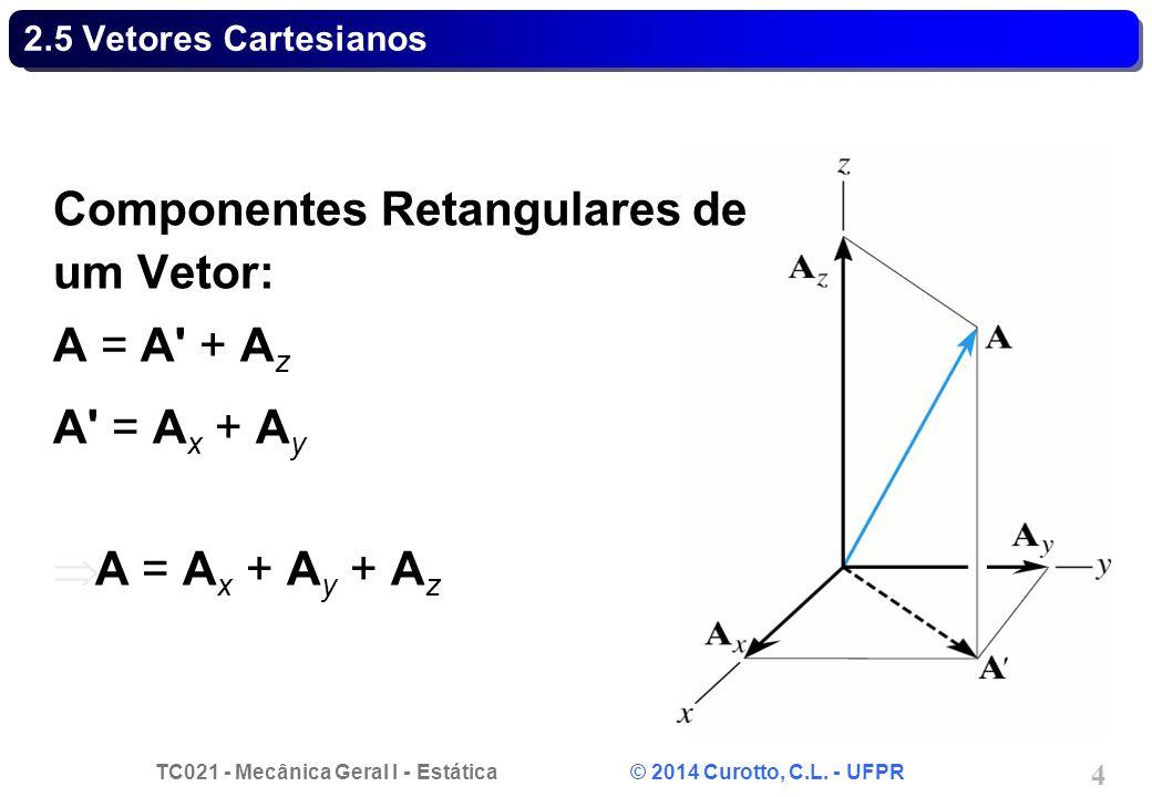TC021 - Mecânica Geral I - Estática © 2014 Curotto, C.L. - UFPR 4 2.5 Vetores Cartesianos Componentes Retangulares de um Vetor: A = A' + A z A' = A x