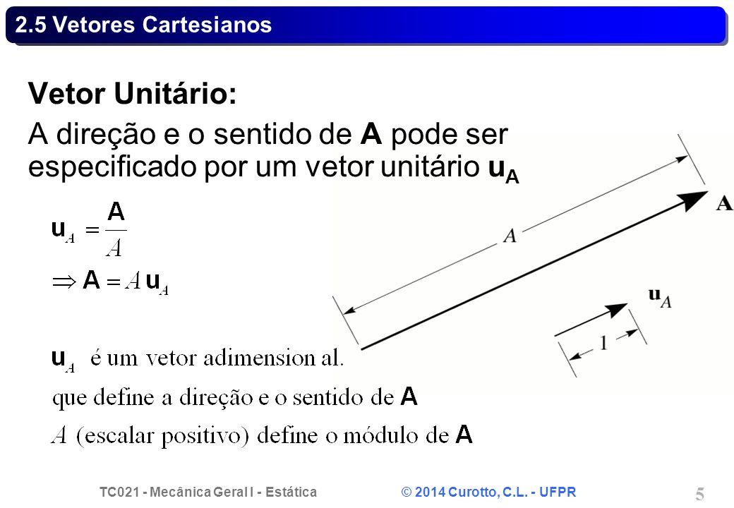 TC021 - Mecânica Geral I - Estática © 2014 Curotto, C.L. - UFPR 5 2.5 Vetores Cartesianos Vetor Unitário: A direção e o sentido de A pode ser especifi