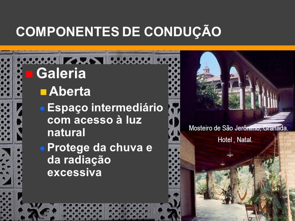 Galeria Aberta Espaço intermediário com acesso à luz natural Protege da chuva e da radiação excessiva COMPONENTES DE CONDUÇÃO Mosteiro de São Jerônimo