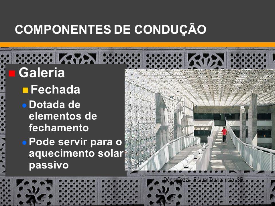 Galeria Fechada Dotada de elementos de fechamento Pode servir para o aquecimento solar passivo COMPONENTES DE CONDUÇÃO Décio Tozzi - Fórum Trabalhista
