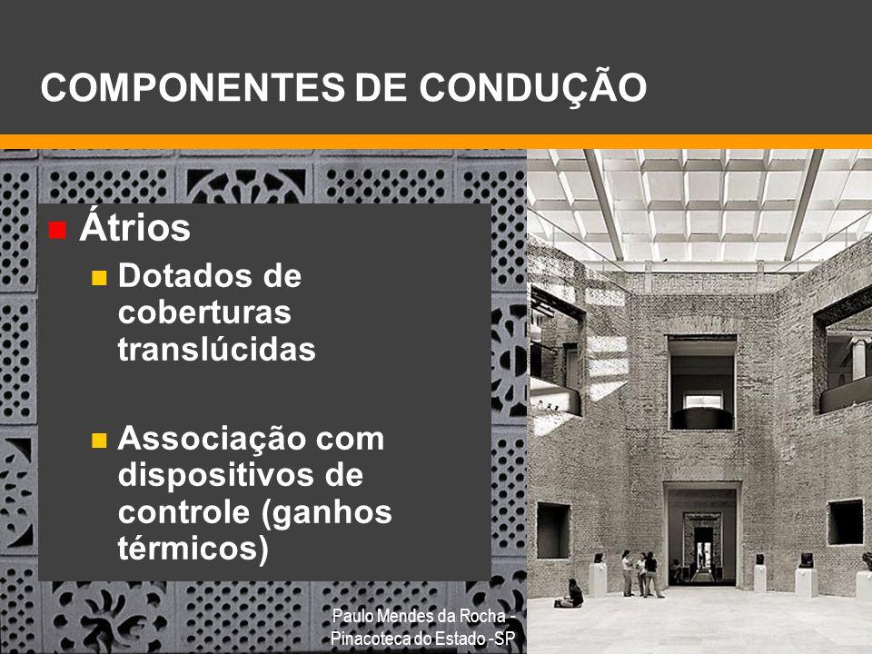 Átrios Dotados de coberturas translúcidas Associação com dispositivos de controle (ganhos térmicos) COMPONENTES DE CONDUÇÃO Paulo Mendes da Rocha - Pi