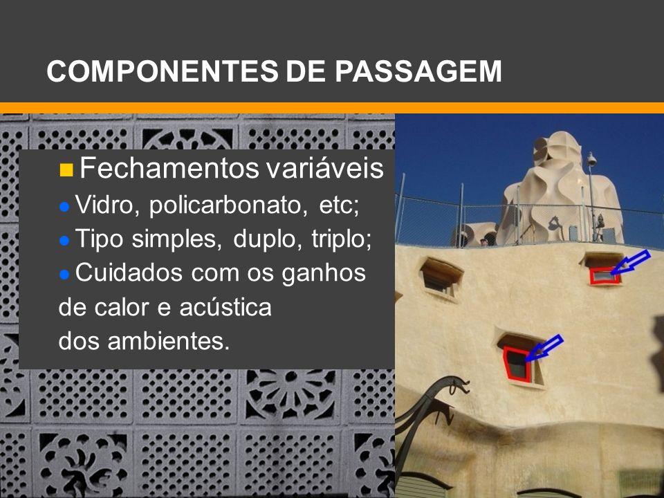 Fechamentos variáveis Vidro, policarbonato, etc; Tipo simples, duplo, triplo; Cuidados com os ganhos de calor e acústica dos ambientes. COMPONENTES DE