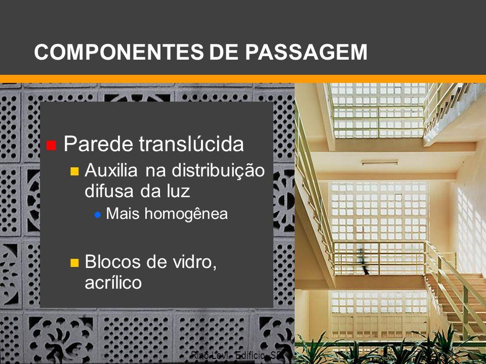 Parede translúcida Auxilia na distribuição difusa da luz Mais homogênea Blocos de vidro, acrílico COMPONENTES DE PASSAGEM Rino Levi - Edifício–SP.