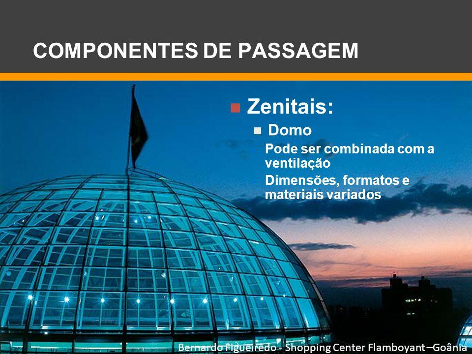 Zenitais: Domo Pode ser combinada com a ventilação Dimensões, formatos e materiais variados Bernardo Figueiredo - Shopping Center Flamboyant –Goânia C