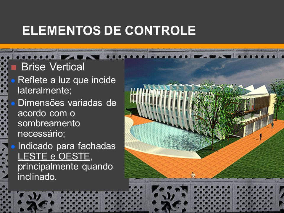 Brise Vertical Reflete a luz que incide lateralmente; Dimensões variadas de acordo com o sombreamento necessário; Indicado para fachadas LESTE e OESTE