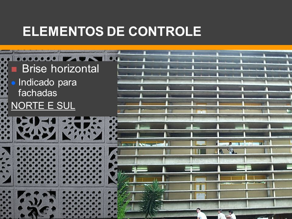 Brise horizontal Indicado para fachadas NORTE E SUL ELEMENTOS DE CONTROLE
