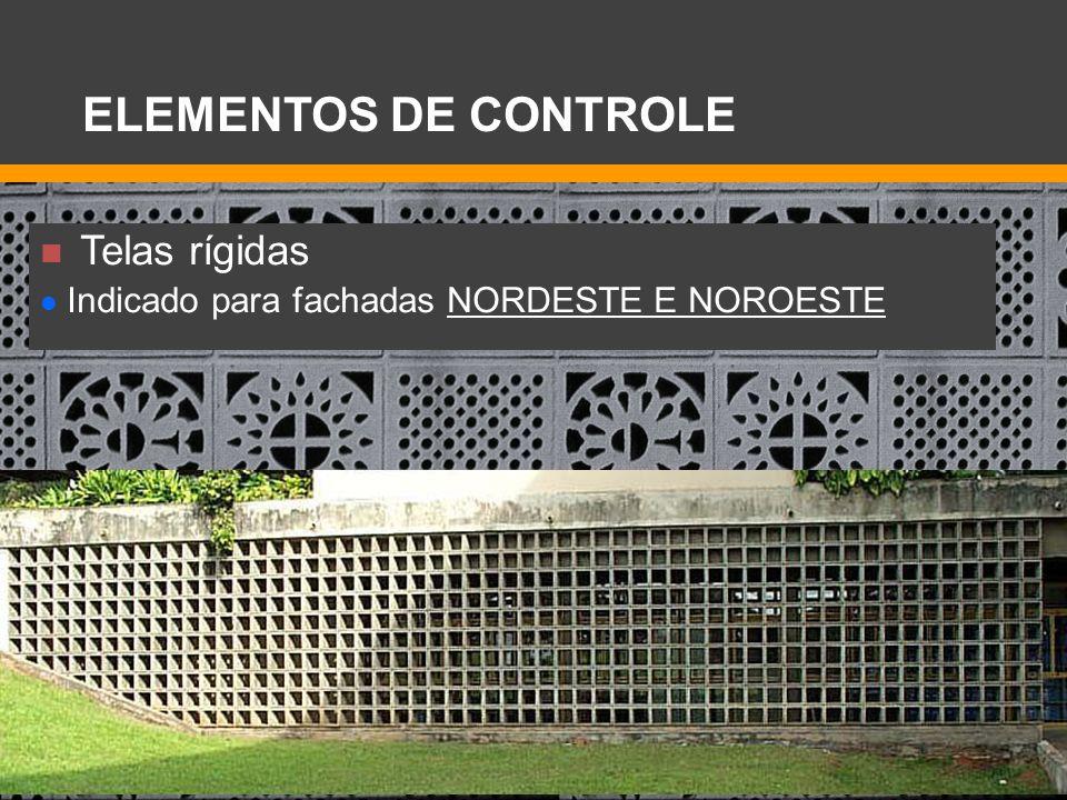 Telas rígidas Indicado para fachadas NORDESTE E NOROESTE ELEMENTOS DE CONTROLE