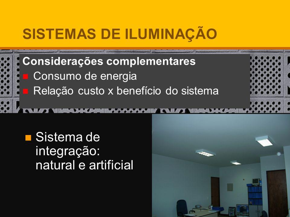 Considerações complementares Consumo de energia Relação custo x benefício do sistema Sistema de integração: natural e artificial SISTEMAS DE ILUMINAÇÃ