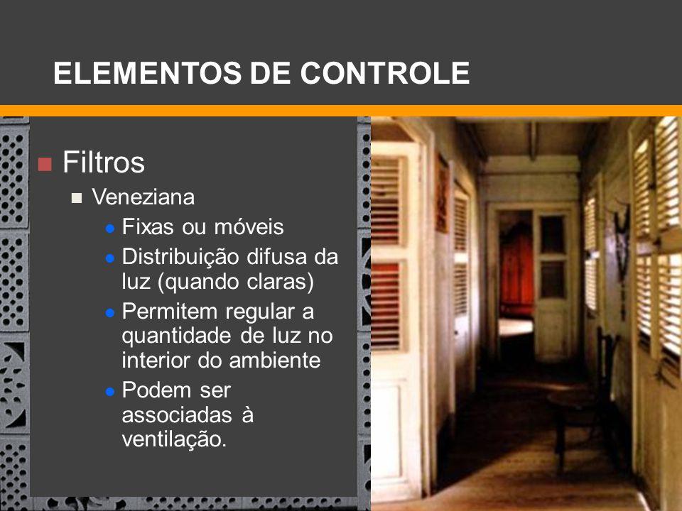 Filtros Veneziana Fixas ou móveis Distribuição difusa da luz (quando claras) Permitem regular a quantidade de luz no interior do ambiente Podem ser as