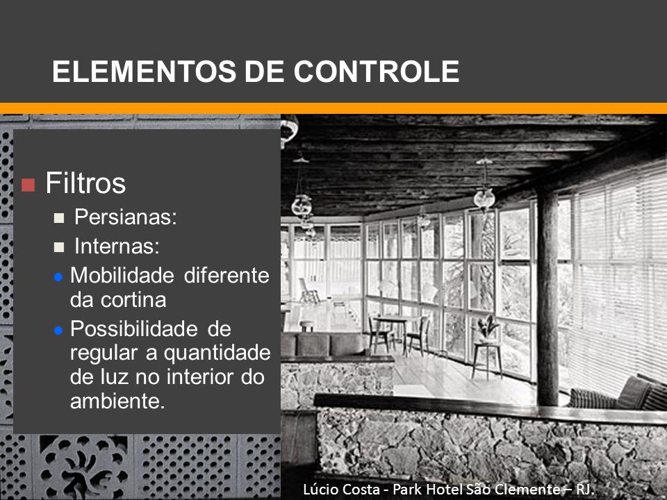 Filtros Persianas: Internas: Mobilidade diferente da cortina Possibilidade de regular a quantidade de luz no interior do ambiente. Lúcio Costa - Park