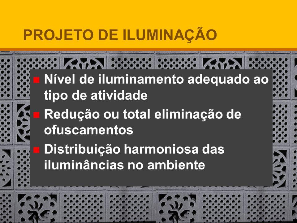 Nível de iluminamento adequado ao tipo de atividade Redução ou total eliminação de ofuscamentos Distribuição harmoniosa das iluminâncias no ambiente P