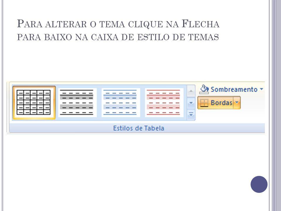 P ARA ALTERAR O TEMA CLIQUE NA F LECHA PARA BAIXO NA CAIXA DE ESTILO DE TEMAS