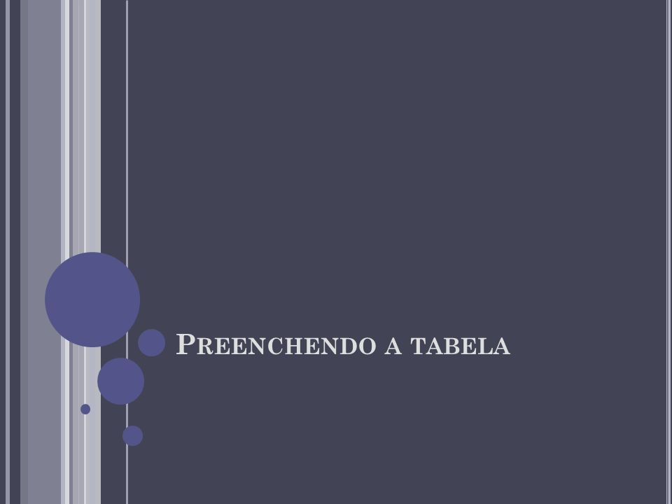 P REENCHENDO A TABELA