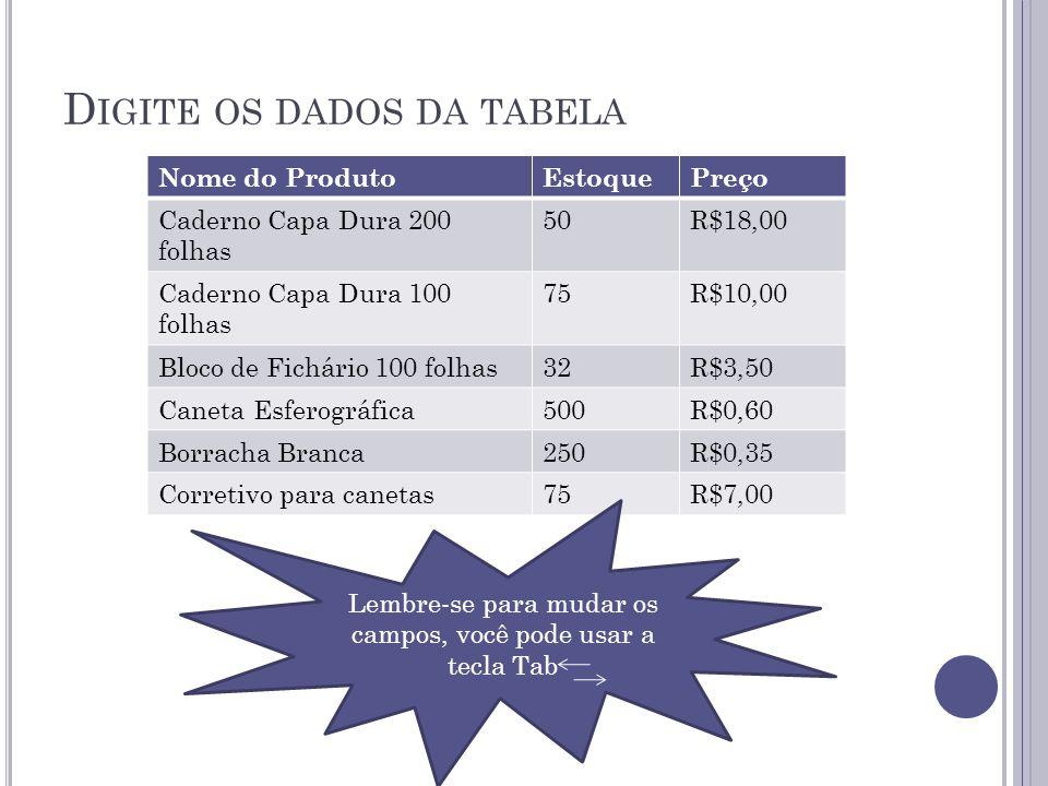 D IGITE OS DADOS DA TABELA Nome do ProdutoEstoquePreço Caderno Capa Dura 200 folhas 50R$18,00 Caderno Capa Dura 100 folhas 75R$10,00 Bloco de Fichário