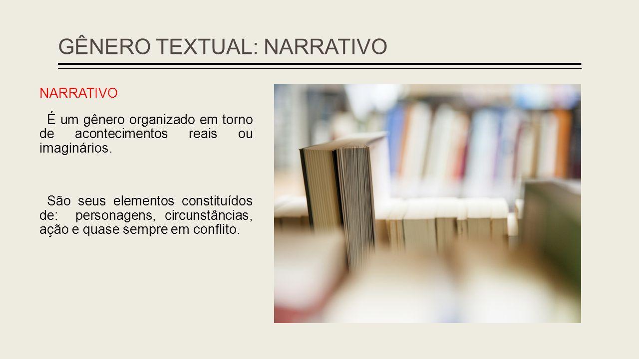 GÊNERO TEXTUAL: NARRATIVO NARRATIVO É um gênero organizado em torno de acontecimentos reais ou imaginários. São seus elementos constituídos de: person