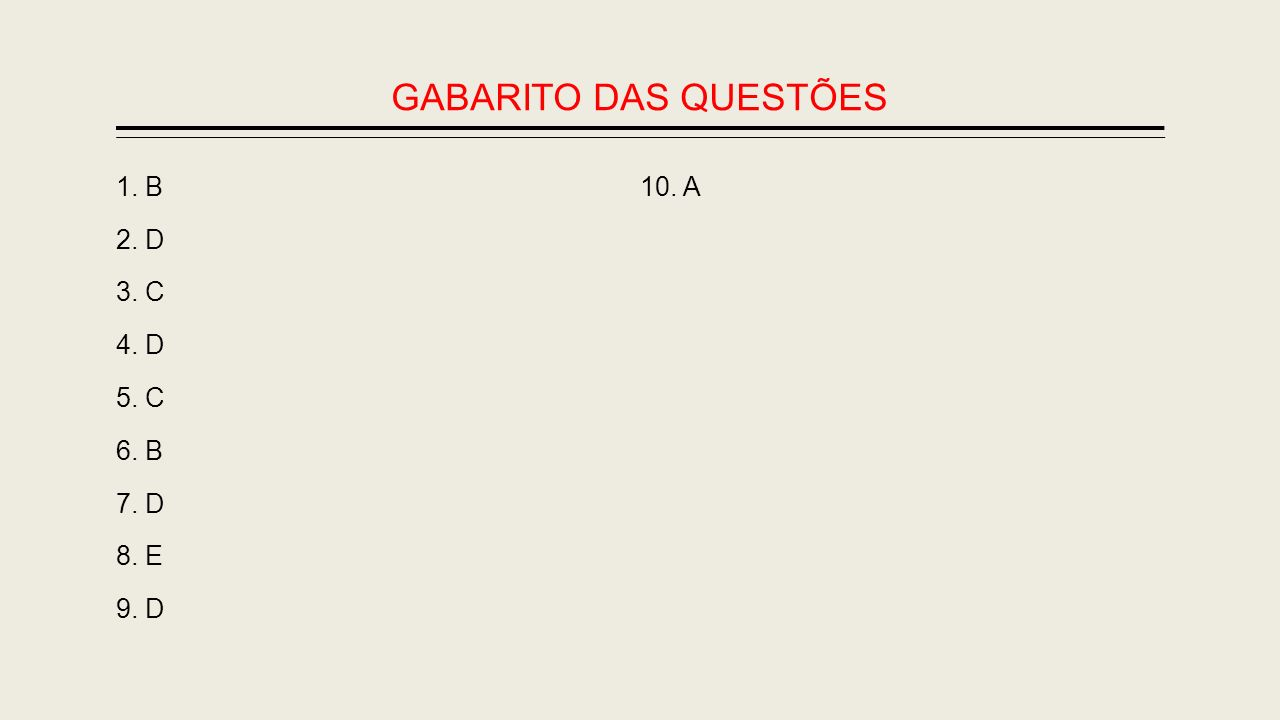 GABARITO DAS QUESTÕES 1. B 2. D 3. C 4. D 5. C 6. B 7. D 8. E 9. D 10. A