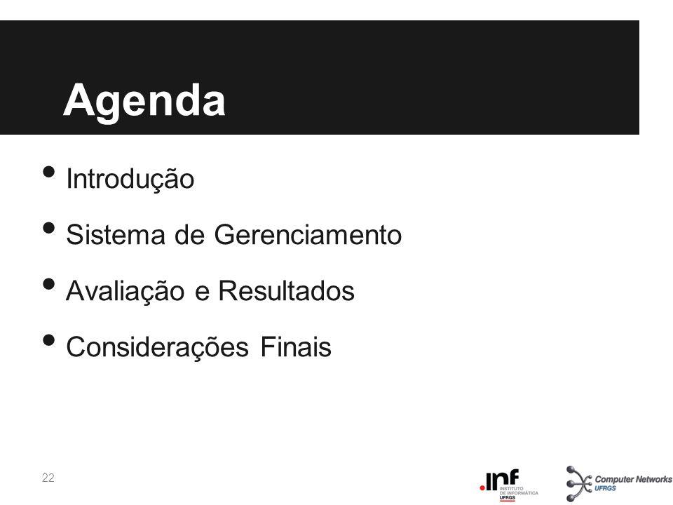 Agenda Introdução Sistema de Gerenciamento Avaliação e Resultados Considerações Finais 22