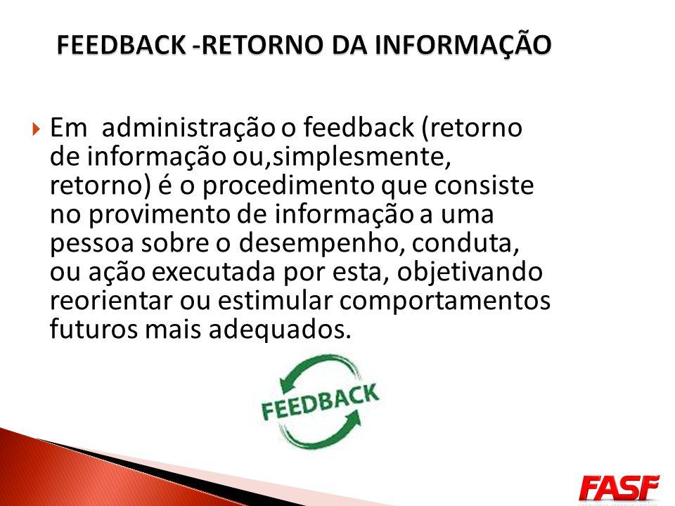 Em administração o feedback (retorno de informação ou,simplesmente, retorno) é o procedimento que consiste no provimento de informação a uma pessoa so
