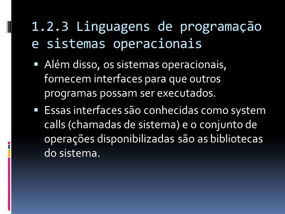 1.2.3 Linguagens de programação e sistemas operacionais Além disso, os sistemas operacionais, fornecem interfaces para que outros programas possam ser