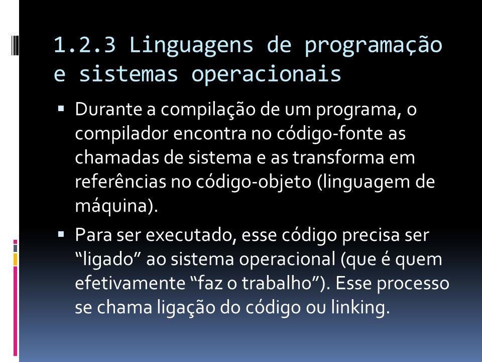 1.2.3 Linguagens de programação e sistemas operacionais Durante a compilação de um programa, o compilador encontra no código-fonte as chamadas de sist