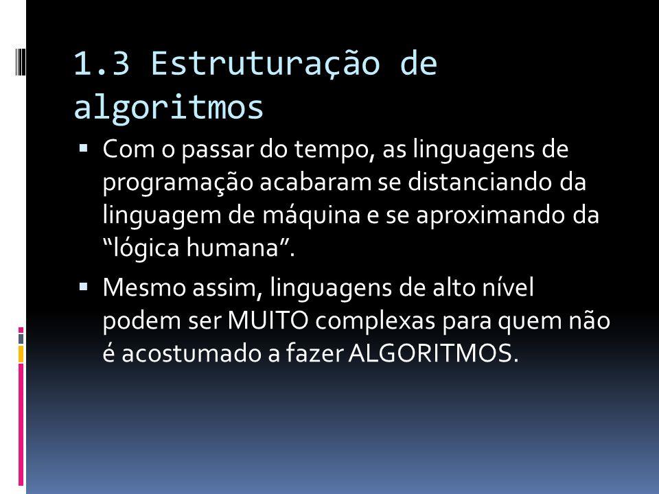 1.3 Estruturação de algoritmos Com o passar do tempo, as linguagens de programação acabaram se distanciando da linguagem de máquina e se aproximando d