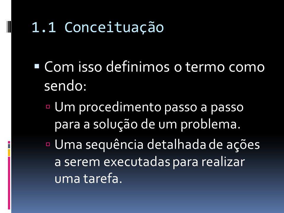 1.1 Conceituação Com isso definimos o termo como sendo: Um procedimento passo a passo para a solução de um problema. Uma sequência detalhada de ações
