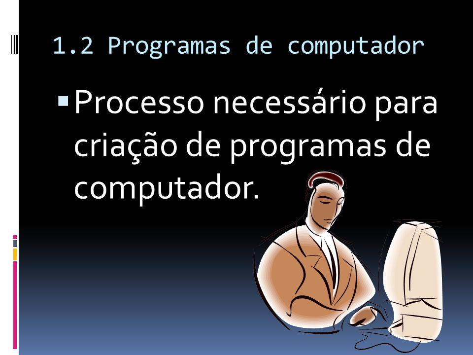 1.2 Programas de computador Processo necessário para criação de programas de computador.