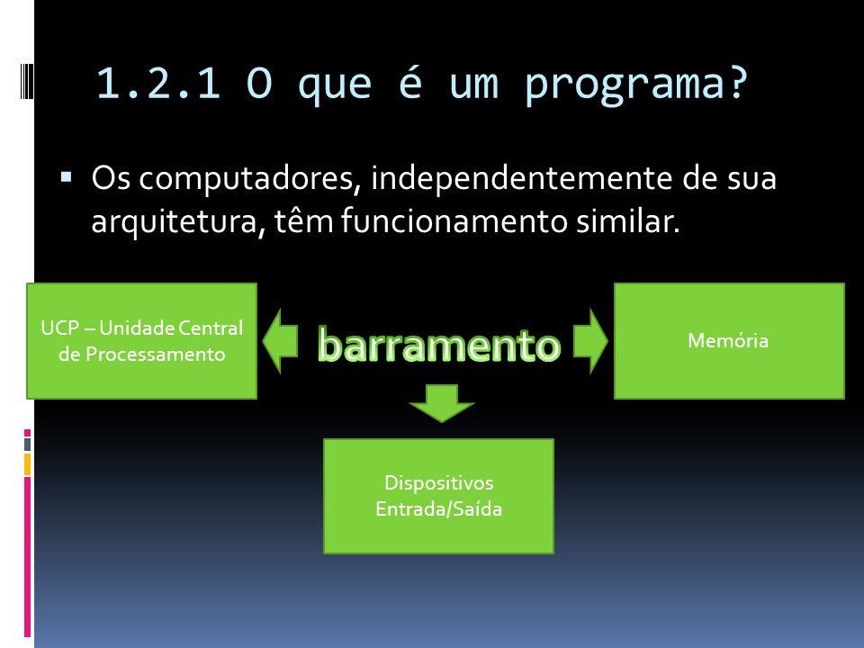 1.2.1 O que é um programa? Os computadores, independentemente de sua arquitetura, têm funcionamento similar. UCP – Unidade Central de Processamento Di