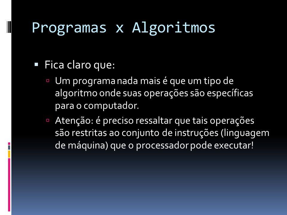 Programas x Algoritmos Fica claro que: Um programa nada mais é que um tipo de algoritmo onde suas operações são específicas para o computador. Atenção