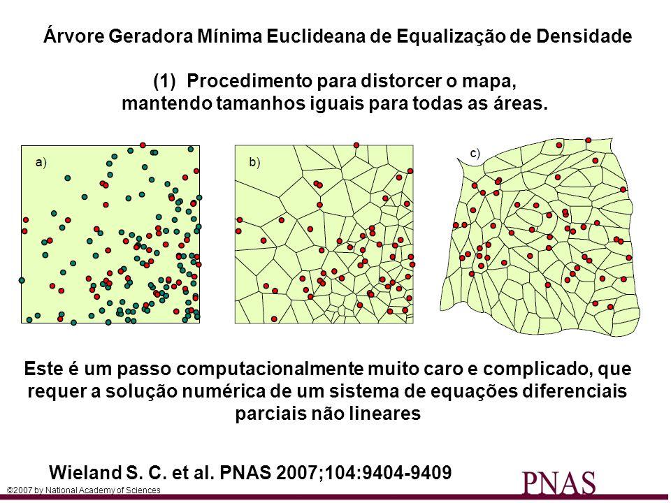 Wieland S. C. et al. PNAS 2007;104:9404-9409 Árvore Geradora Mínima Euclideana de Equalização de Densidade (1)Procedimento para distorcer o mapa, mant