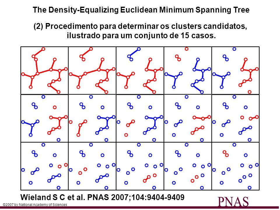 (2) Procedimento para determinar os clusters candidatos, ilustrado para um conjunto de 15 casos. ©2007 by National Academy of Sciences The Density-Equ