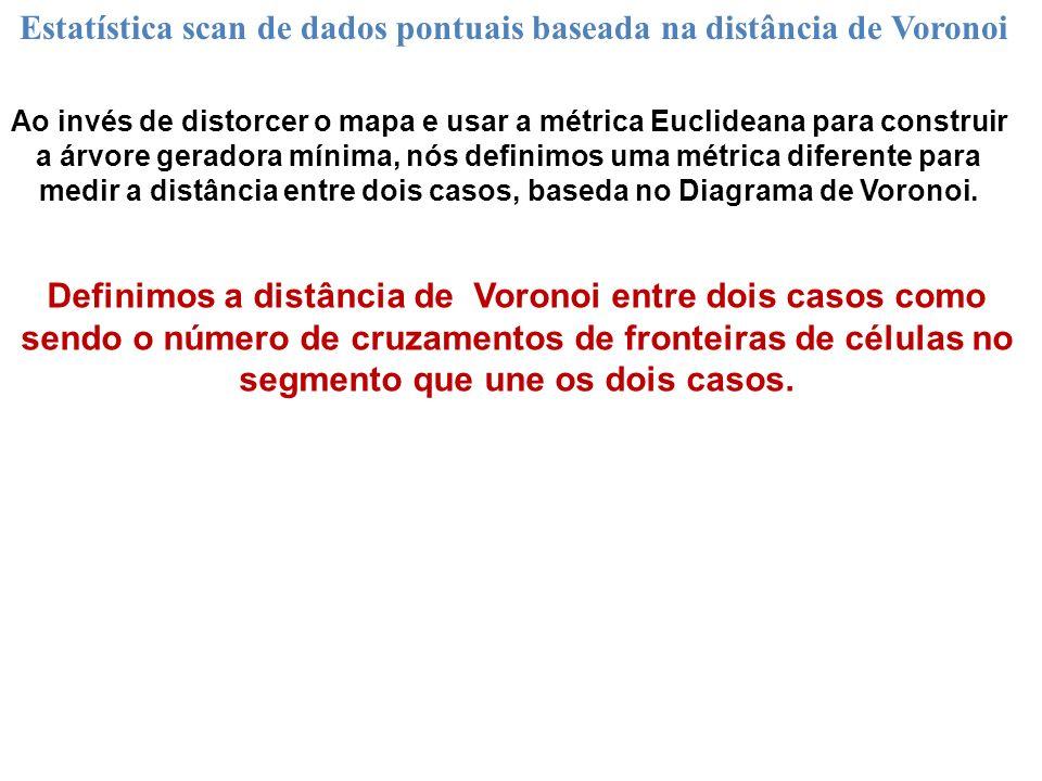 Definimos a distância de Voronoi entre dois casos como sendo o número de cruzamentos de fronteiras de células no segmento que une os dois casos. Estat