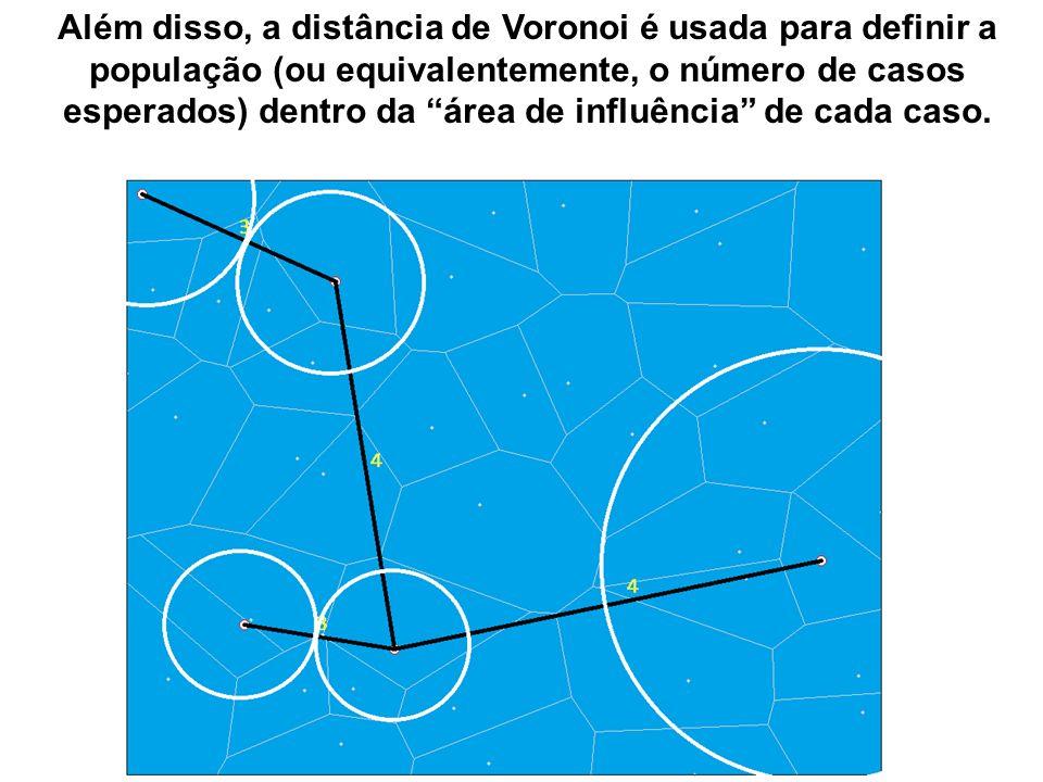 Além disso, a distância de Voronoi é usada para definir a população (ou equivalentemente, o número de casos esperados) dentro da área de influência de