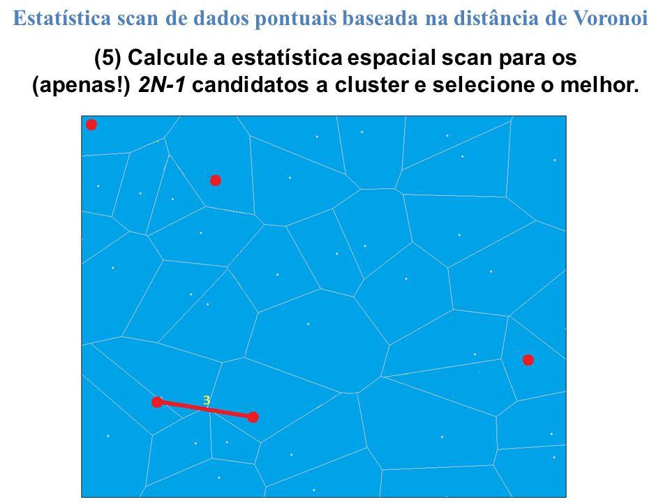 (5) Calcule a estatística espacial scan para os (apenas!) 2N-1 candidatos a cluster e selecione o melhor. Estatística scan de dados pontuais baseada n