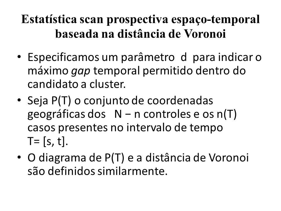 Estatística scan prospectiva espaço-temporal baseada na distância de Voronoi Especificamos um parâmetro d para indicar o máximo gap temporal permitido