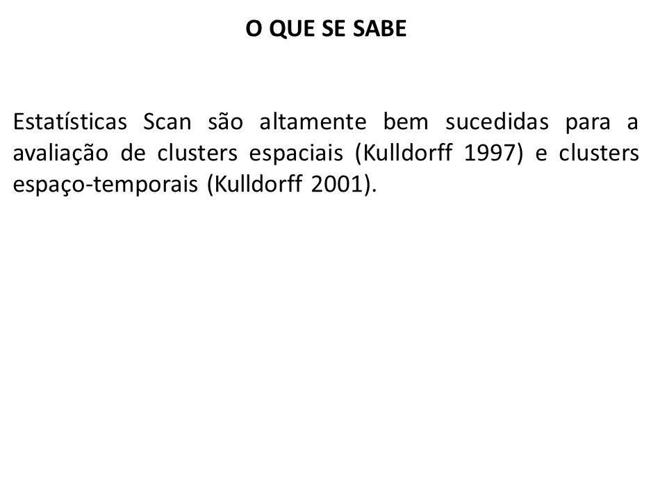 O QUE SE SABE Estatísticas Scan são altamente bem sucedidas para a avaliação de clusters espaciais (Kulldorff 1997) e clusters espaço-temporais (Kulld