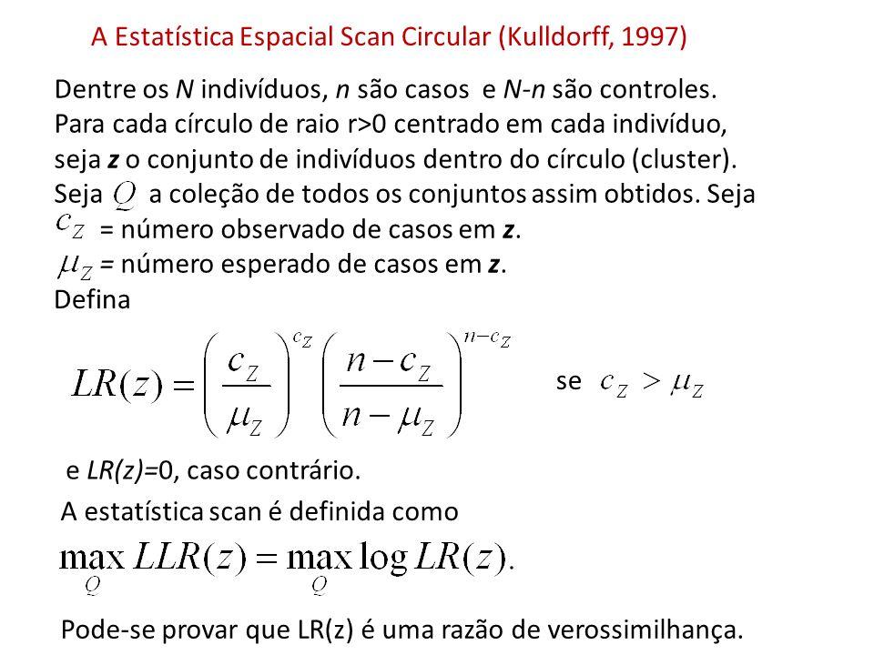 Estatística scan prospectiva espaço-temporal (Kulldorff 2001) Considera todos os possíveis cilindros z X [s,t] no domínio espaço-temporal.