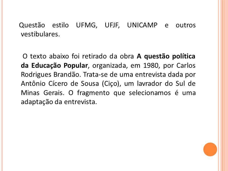 Questão estilo UFMG, UFJF, UNICAMP e outros vestibulares. O texto abaixo foi retirado da obra A questão política da Educação Popular, organizada, em 1