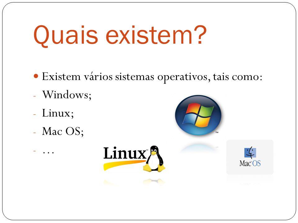 Quais existem? Existem vários sistemas operativos, tais como: - Windows; - Linux; - Mac OS; - …