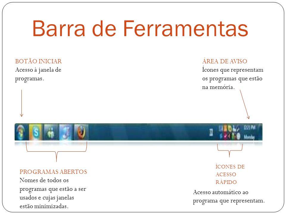 Barra de Ferramentas BOTÃO INICIAR Acesso à janela de programas. ÍCONES DE ACESSO RÀPIDO Acesso automático ao programa que representam. ÁREA DE AVISO