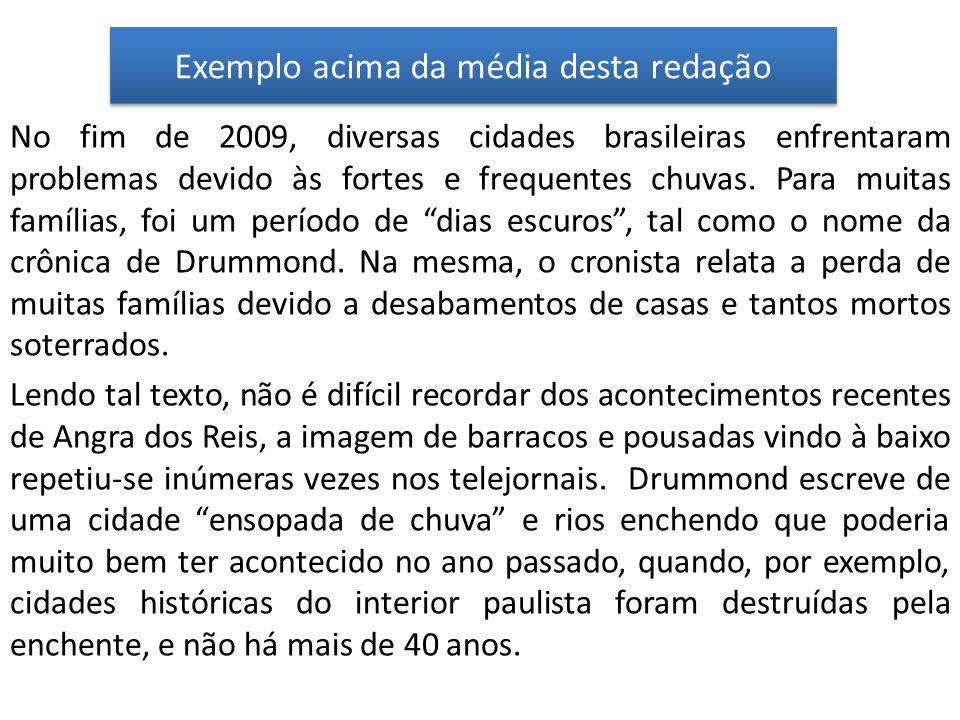 Exemplo acima da média desta redação No fim de 2009, diversas cidades brasileiras enfrentaram problemas devido às fortes e frequentes chuvas. Para mui