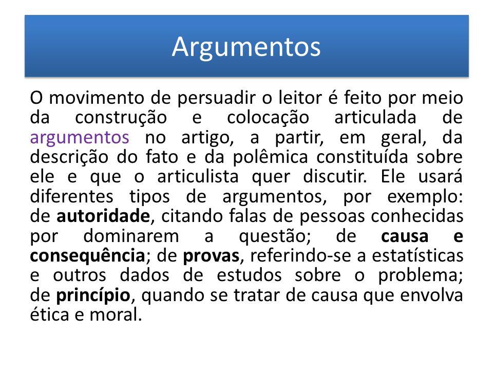 Argumentos Argumentos O movimento de persuadir o leitor é feito por meio da construção e colocação articulada de argumentos no artigo, a partir, em ge