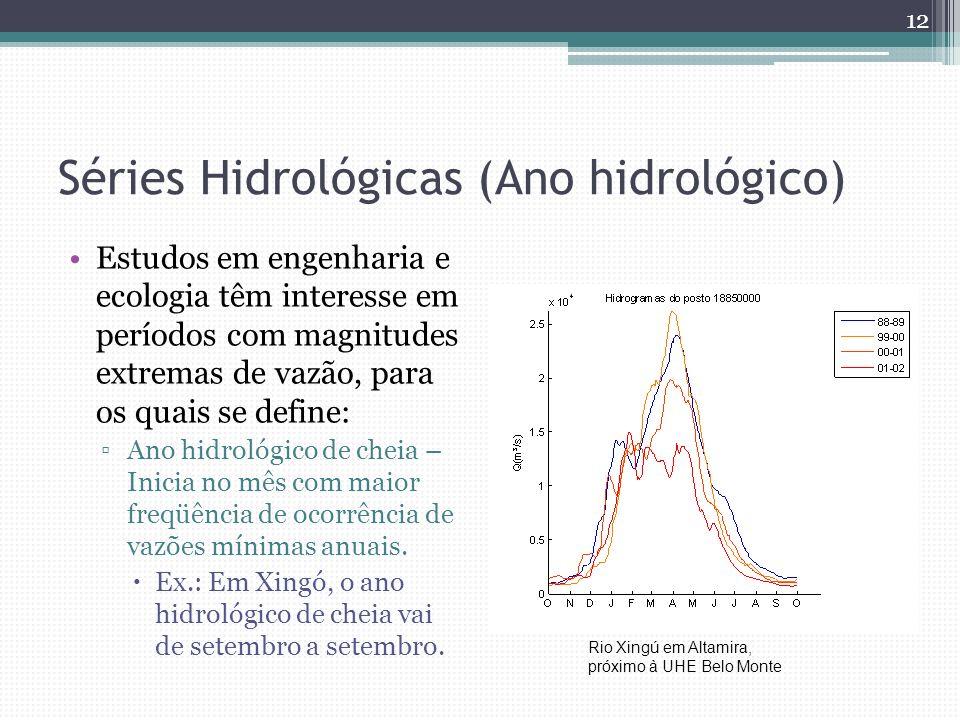 Séries Hidrológicas (Ano hidrológico) Estudos em engenharia e ecologia têm interesse em períodos com magnitudes extremas de vazão, para os quais se de
