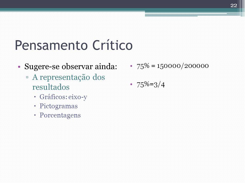 Pensamento Crítico Sugere-se observar ainda: A representação dos resultados Gráficos: eixo-y Pictogramas Porcentagens 75% = 150000/200000 75%=3/4 22
