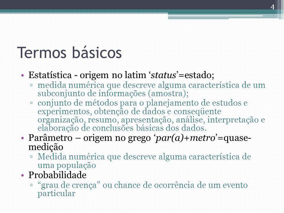 Termos básicos Estatística - origem no latim status=estado; medida numérica que descreve alguma característica de um subconjunto de informações (amost