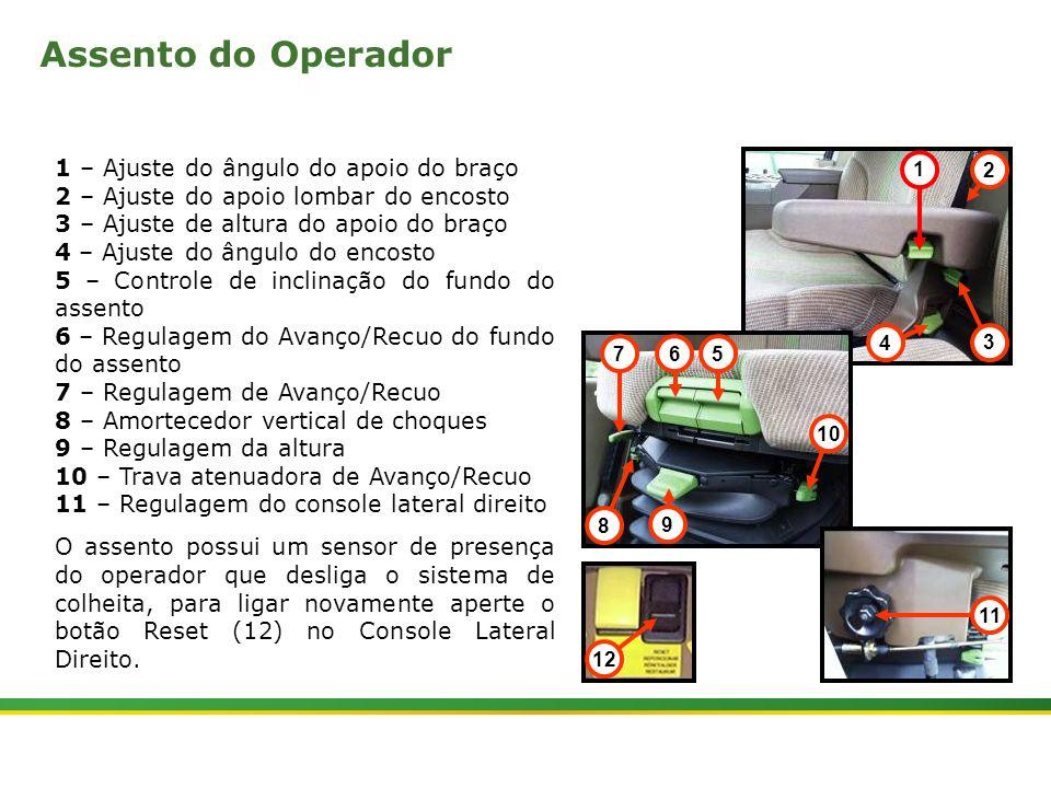 |Colhedora de Cana 3520 & 3522 : Cabine e Plataforma do Operador | Janeiro, 201016 1 – Ajuste do ângulo do apoio do braço 2 – Ajuste do apoio lombar d