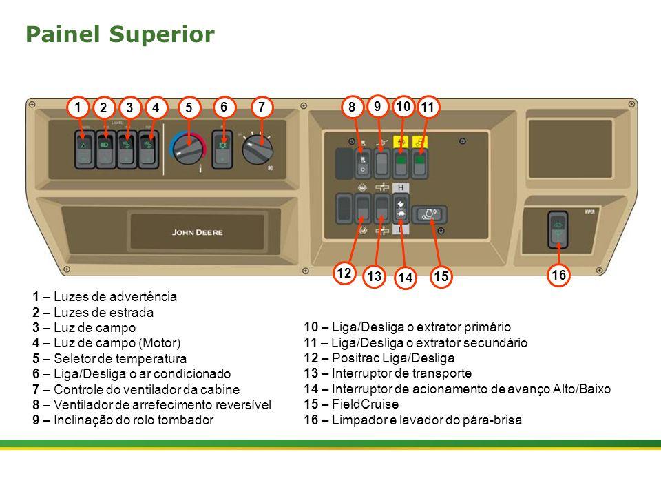  Colhedora de Cana 3520 & 3522 : Cabine e Plataforma do Operador   Janeiro, 20103 Apóia Braço - Controles e Instrumentos (MY10) 1 2 3 4 5 6 7 8 9 10 19 20 18 14 15 16 17 11 13 12 21 1 – Frente e Ré da colhedora 2 – Liga/Desliga CACB (apenas CH3520) 3 – Pressão alvo para o CACB (apenas CH3520) 4 – Tecla High / Low (Alta / Baixa) (apenas CH3520) 5 – Ajuste de sensibilidade do CACB (apenas CH3520) 6 – Parada de emergência das funções de colheita 7 – Reset da parada de emergência 8 – Acionamento do cortador de pontas 9 – Giro do bojo do extrator primário 10 – Flutuação dos divisores de linha 11 – Acionamento do industrial 12 – Inclinação do divisor de linhas esquerdo 13 – Inclinação do divisor de linhas direito 14 – Trabalho/Reversão da esteira do elevador 15 – Sobe/Desce o elevador 16 – Acionamento da faca para esquerda 17 – Acionamento da faca para direita 18 – Acelerador do motor 19 – Controle de velocidade do extrator primário 20 – Tomada elétrica para acessórios (12V) 21 – Giro do bojo do extrator secundário